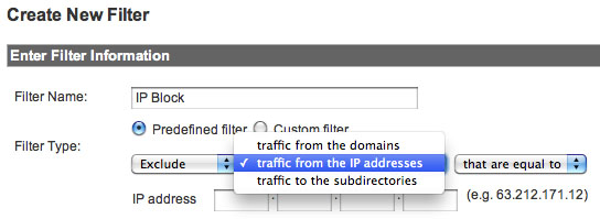 Image showing the location of 'traffic from the IP Address' in the drop-down