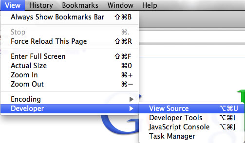 Image showing how to locate 'View Page Source' in Google Chrome